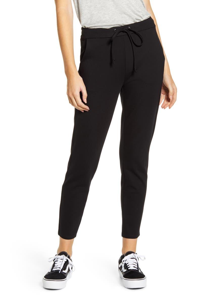 1822 DENIM Ponte Jogger Pants, Main, color, BLACK