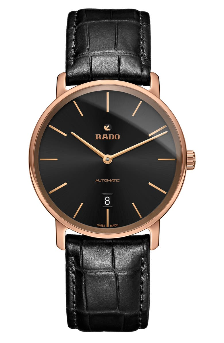 RADO DiaMaster Automatic Leather Strap Watch, 41mm, Main, color, BLACK/ BLACK/ ROSE GOLD