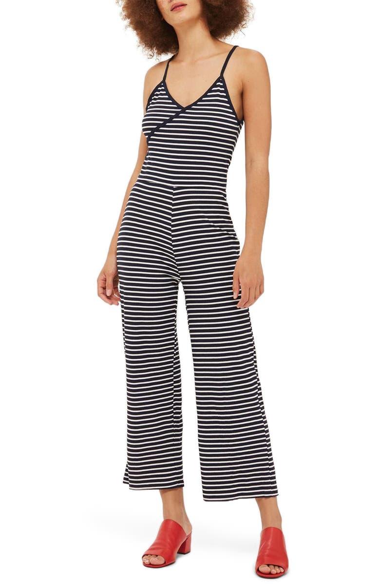 TOPSHOP Stripe Jumpsuit, Main, color, 410