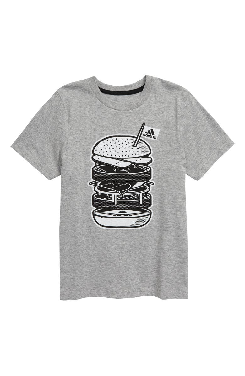 ADIDAS Badge of Sport Cheeseburger Graphic T-Shirt, Main, color, HEATHER GREY