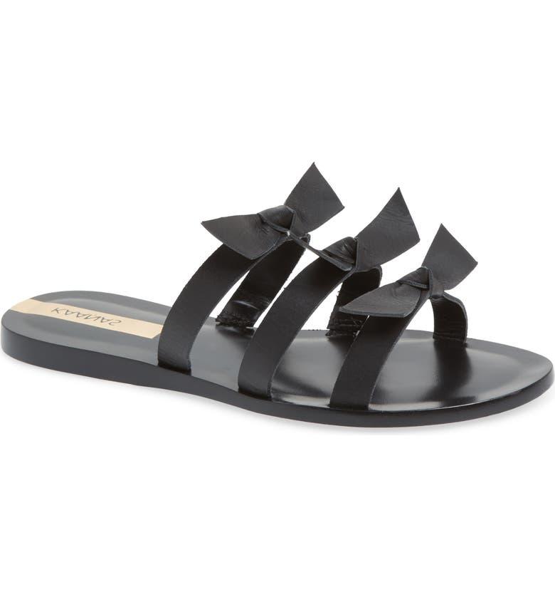 KAANAS Recife Knotted Slide Sandal, Main, color, BLACK