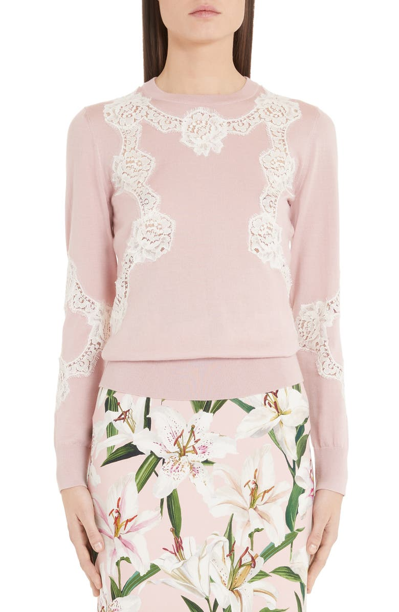 DOLCE&GABBANA Lace Inset Silk Sweater, Main, color, PINK