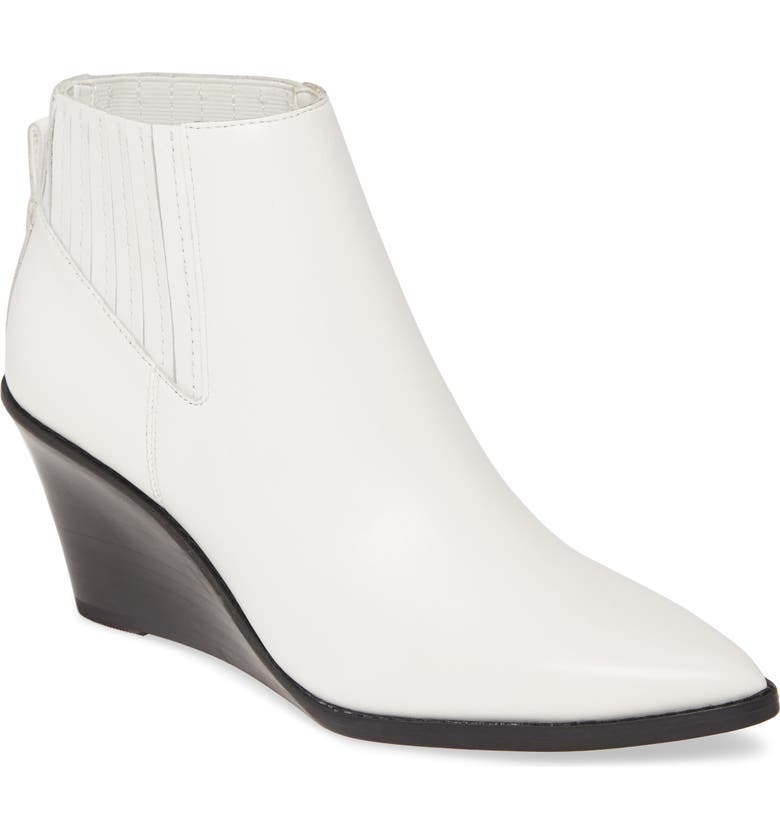 CALVIN KLEIN Tabby Wedge Bootie, Main, color, WHITE LEATHER