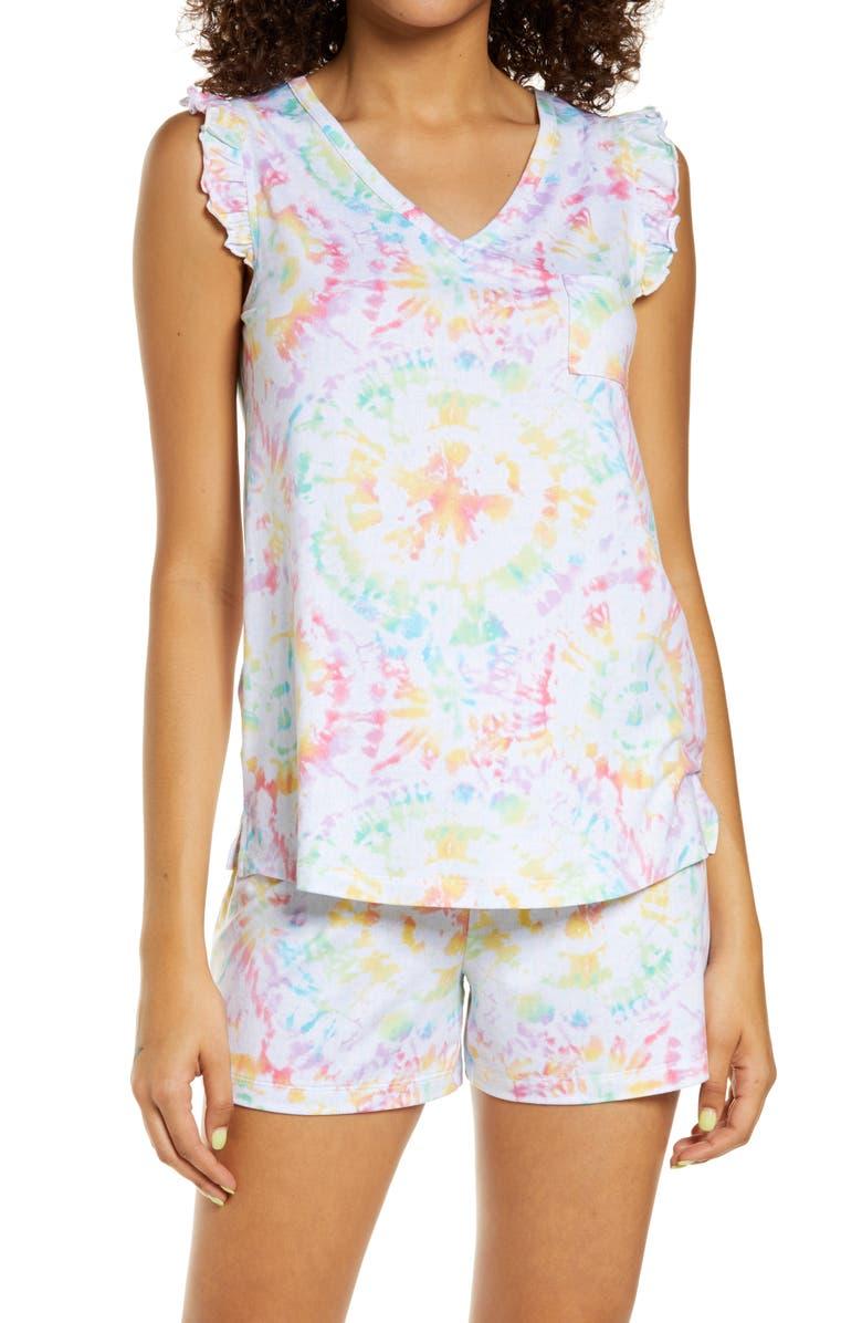 EMERSON ROAD Stripe Short Pajamas, Main, color, PRISM TIE DYE WHITE
