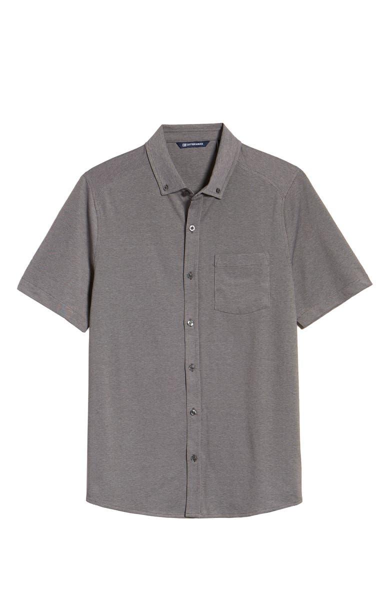 CUTTER & BUCK Reach Short Sleeve Oxford Button-Down Sport Shirt, Main, color, CHARCOAL