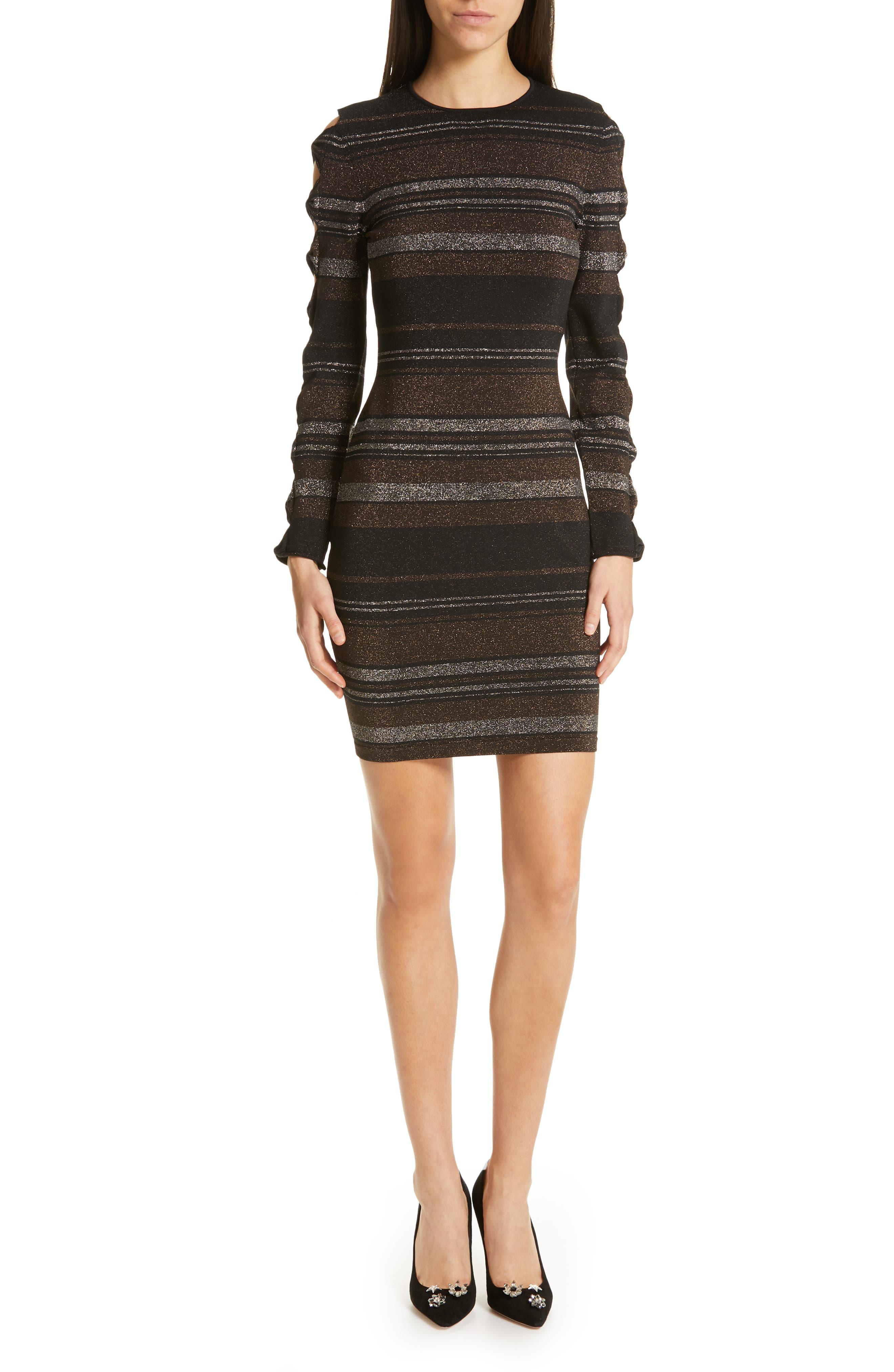 Image of Ted Baker London Simona Metallic Stripe Bodycon Dress