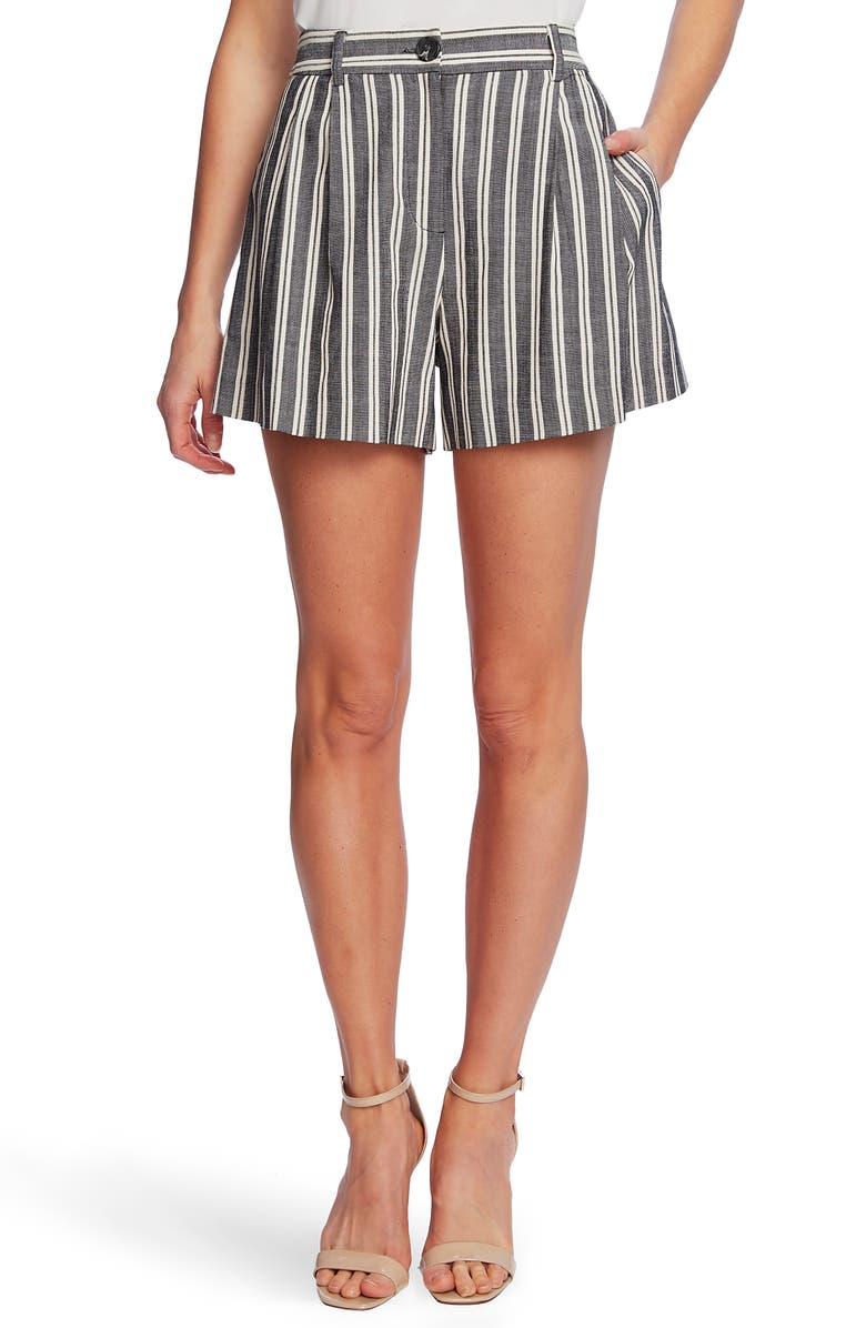 CECE Pleat Front Double Stripe Shorts, Main, color, RICH BLACK