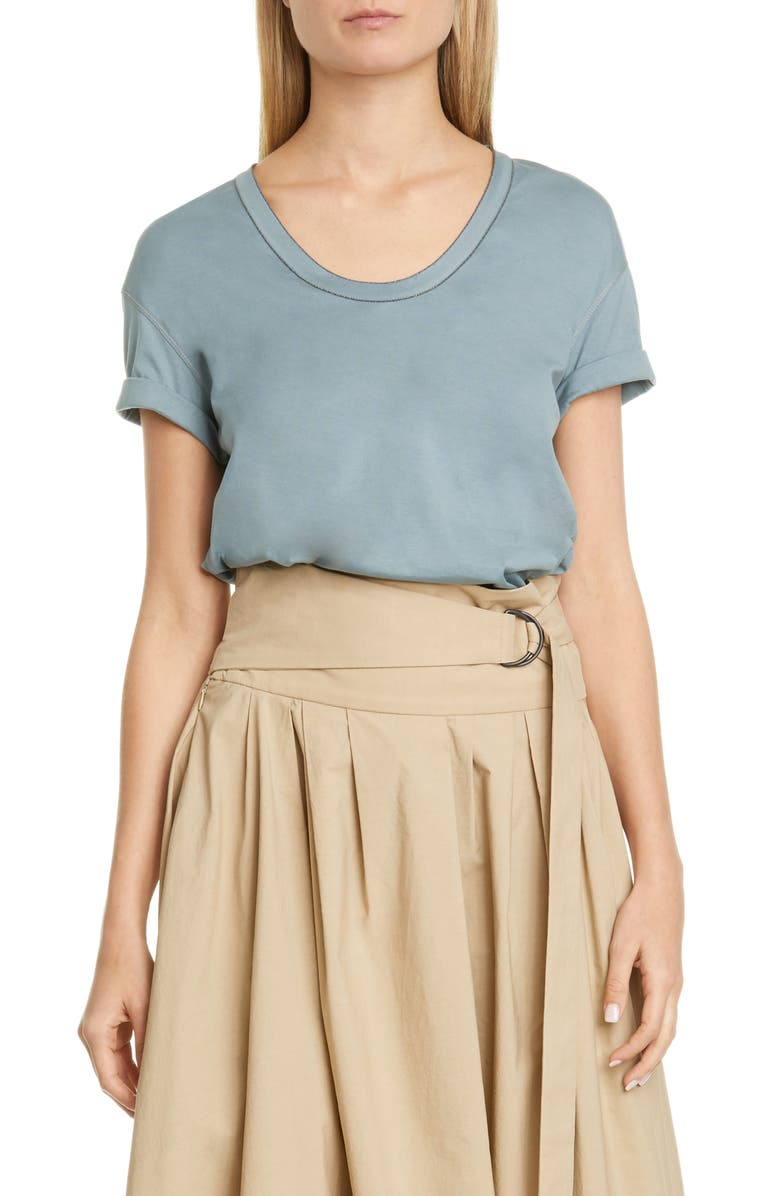BRUNELLO CUCINELLI Monili Trim Tee, Main, color, EUCALYPTUS