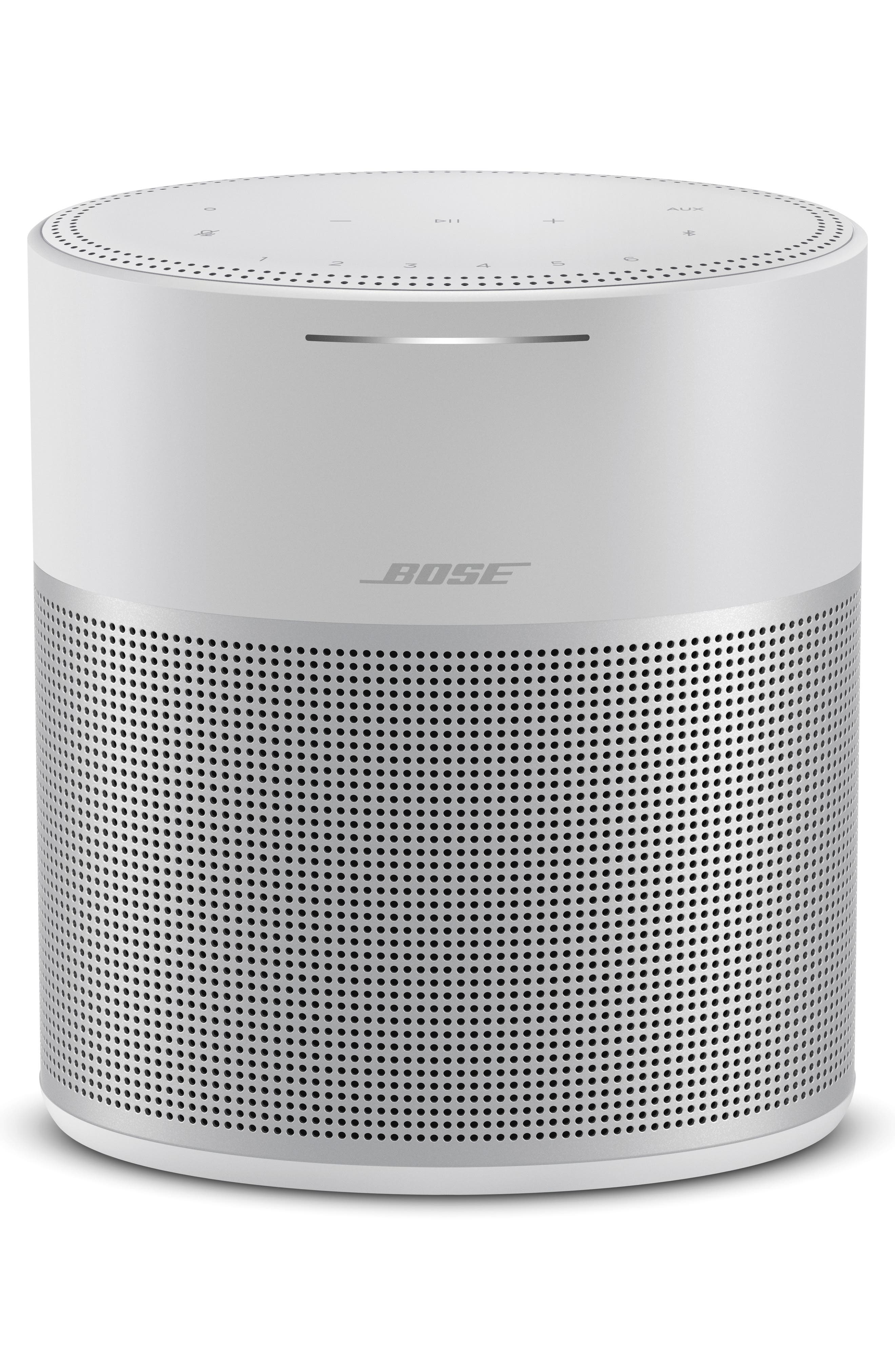 Get wall-to-wall sound from this sleek, wireless-enabled speaker that features built-in voice control from Amazon Alexa for easy-to-use convenience. Customizable tactile and mobile-device controls offer an additional layer of utility, and a seamless anodized-aluminum body makes it a refined addition to your decor. Speaker specs: Two custom drivers pointing in opposite directions for stereo sound, built-in voice control, custom-designed