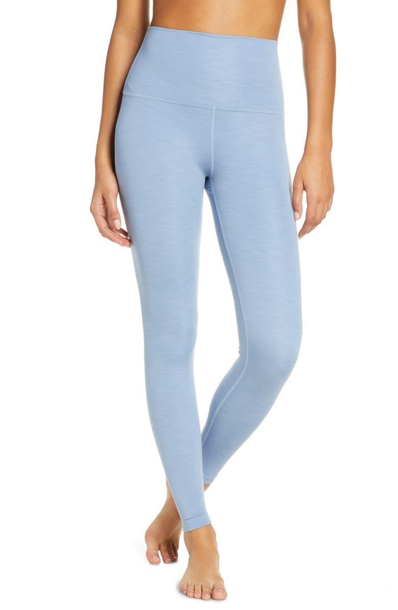 BEYOND YOGA Heather High Waist Rib Leggings, Main, color, SERENE BLUE HEATHER