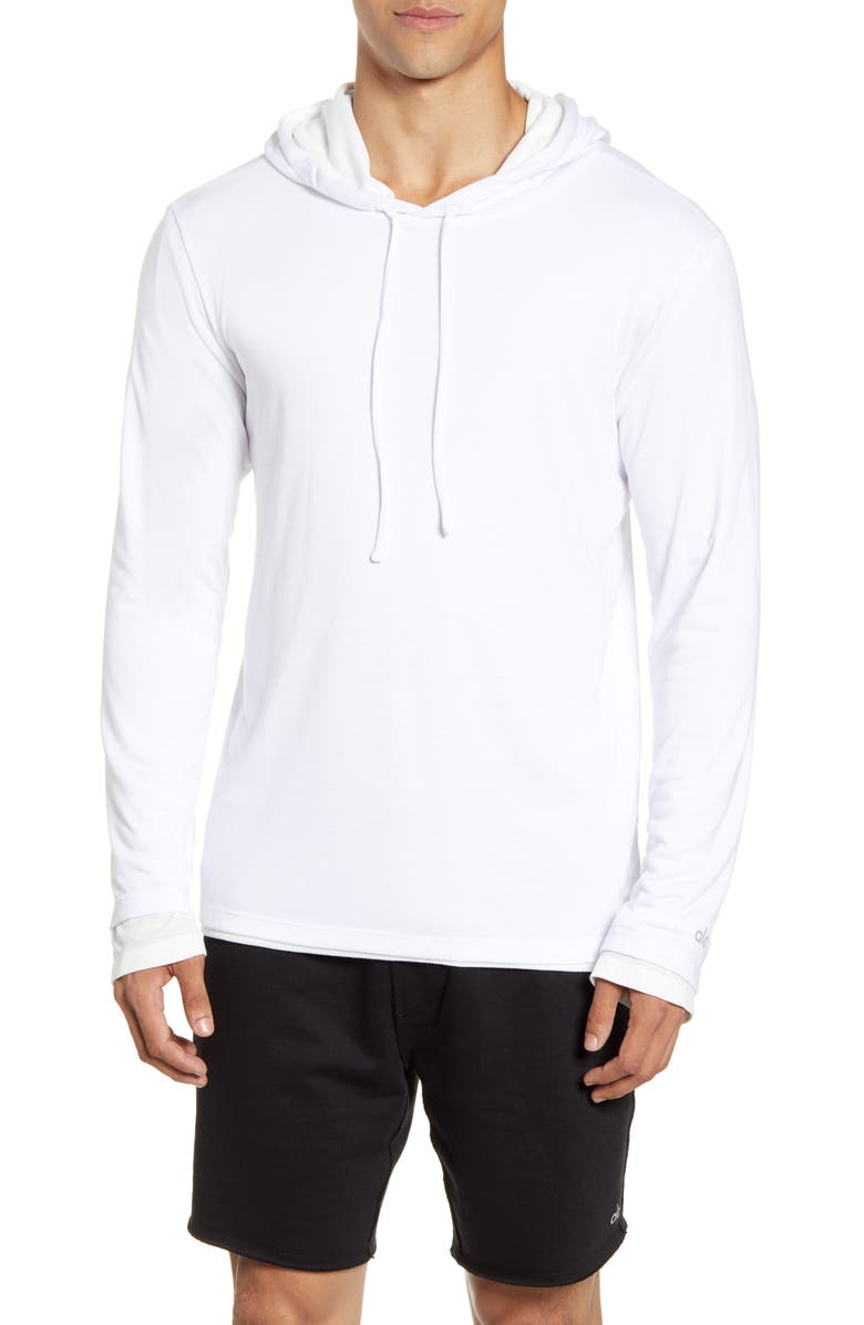 ALO Layered Long Sleeve Hooded T-Shirt, Main, color, WHITE