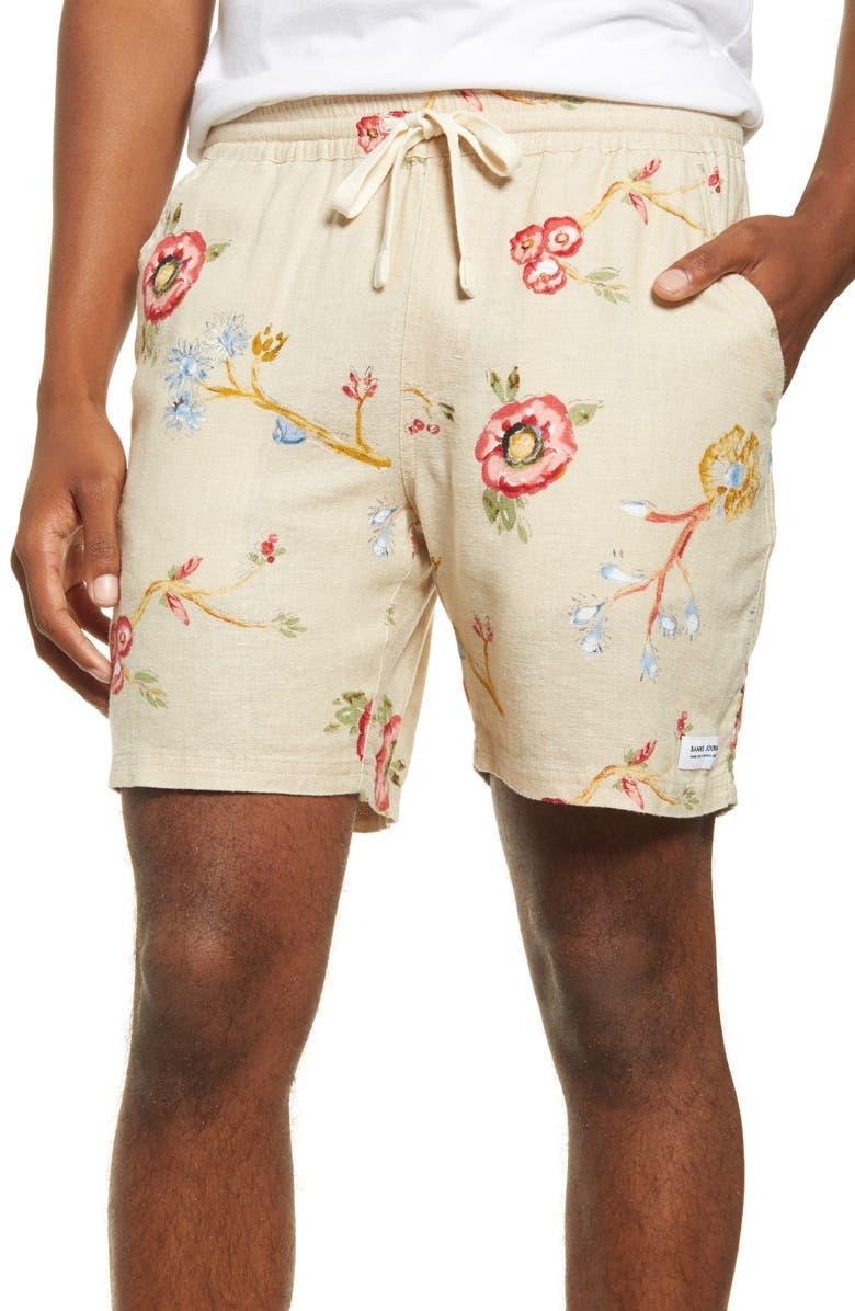 BANKS JOURNAL Symbols Floral Print Shorts, Main, color, BONE