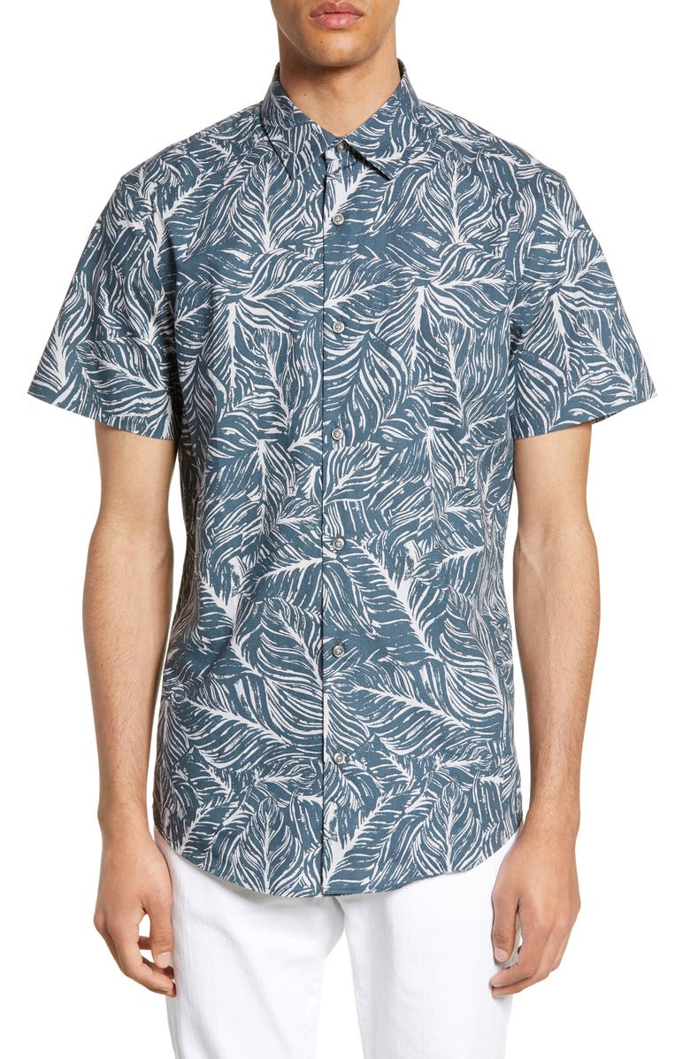 CALIBRATE Short Sleeve Button-Up Shirt, Main, color, GREY EBONY PALM