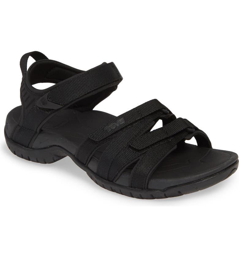 TEVA 'Tirra' Sandal, Main, color, BLACK/ BLACK FABRIC