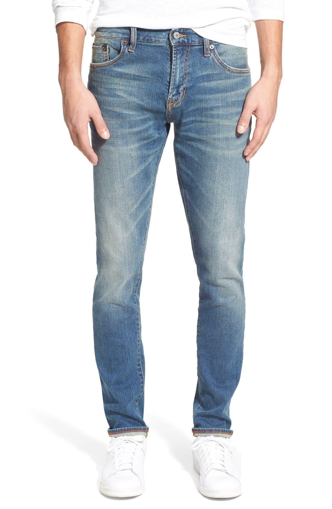 'Jim' Skinny Fit Selvedge Jeans, Main, color, 421