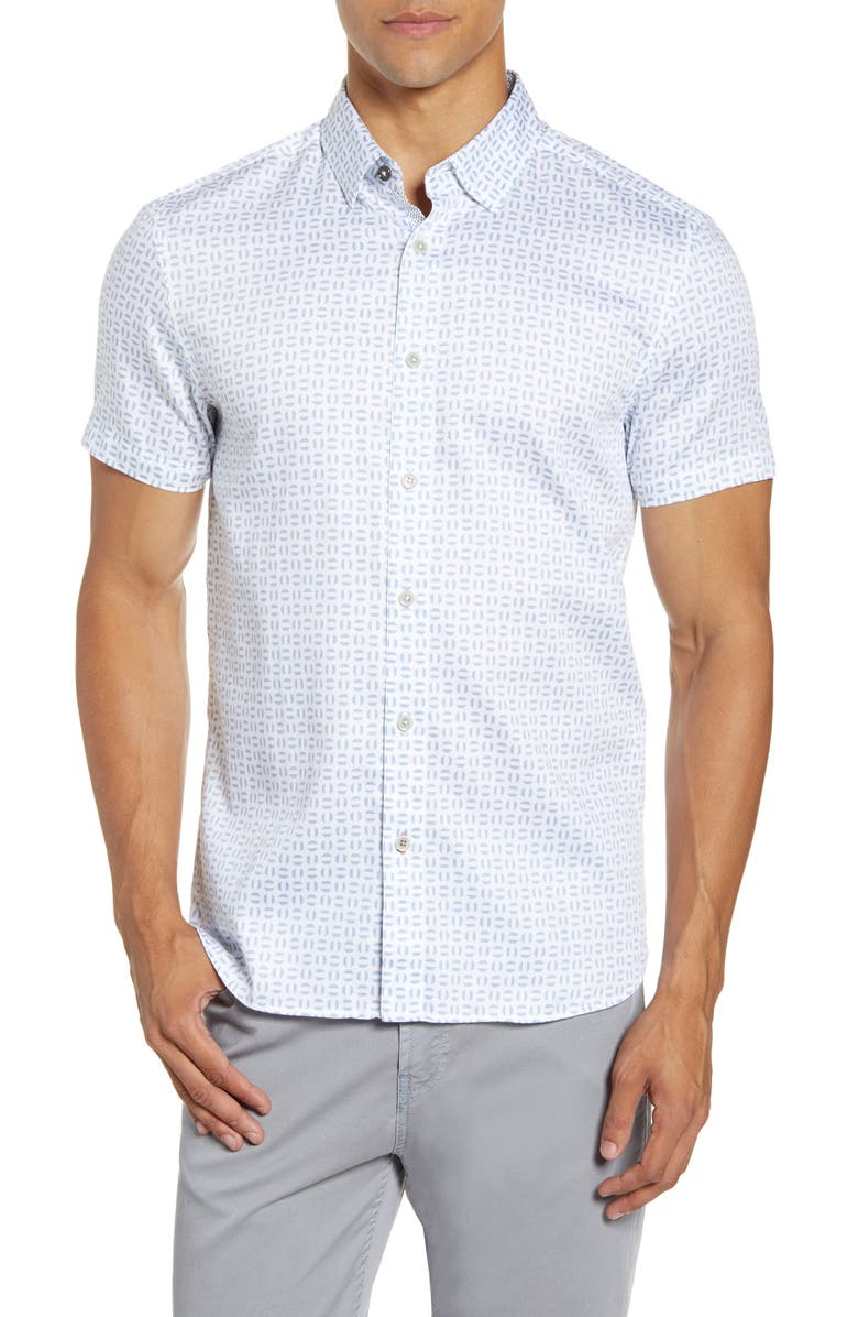 TED BAKER LONDON Slim Fit Geo Print Short Sleeve Button-Up Shirt, Main, color, WHITE