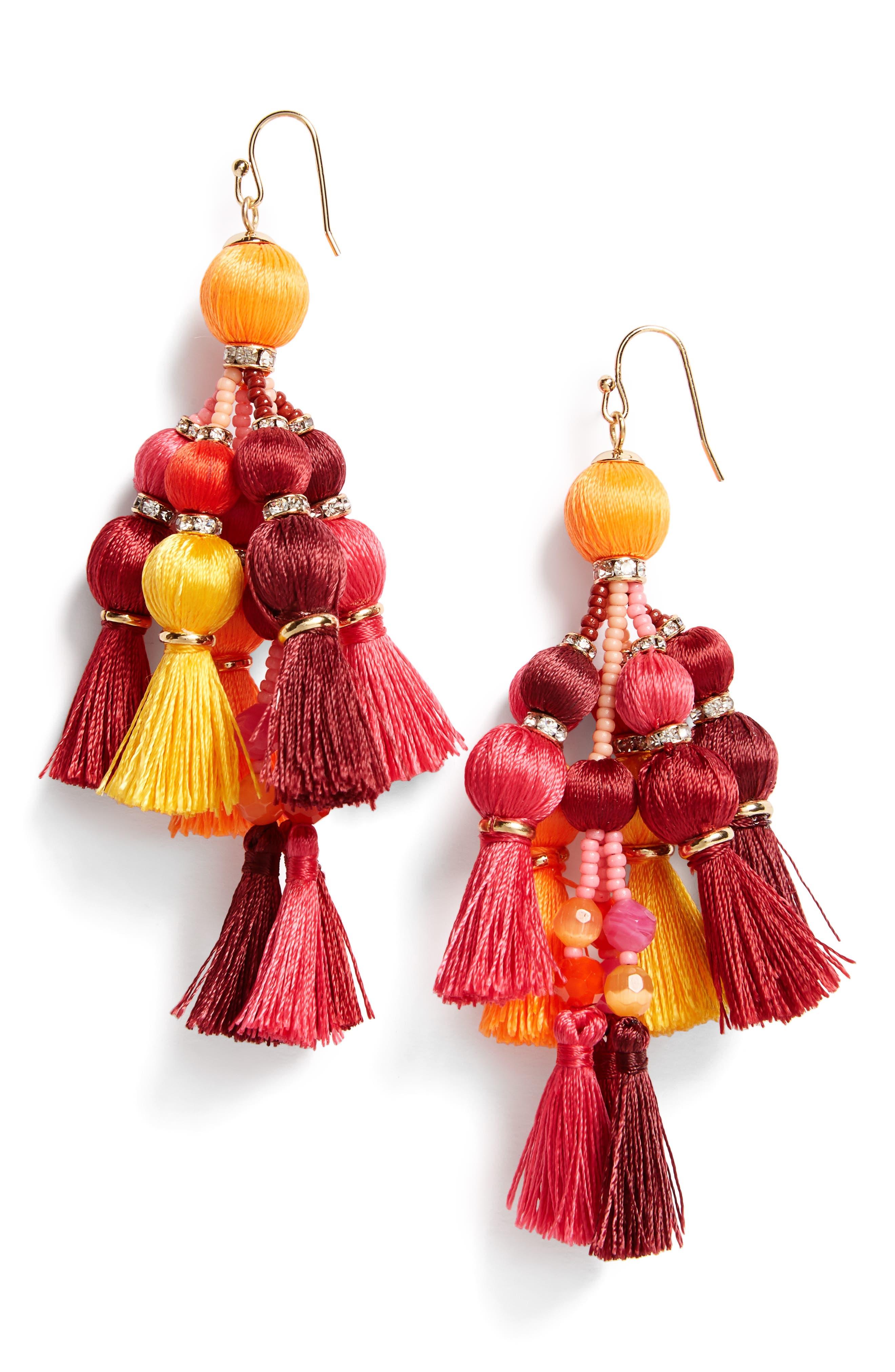 ,                             pretty pom tassel drop earrings,                             Main thumbnail 7, color,                             651