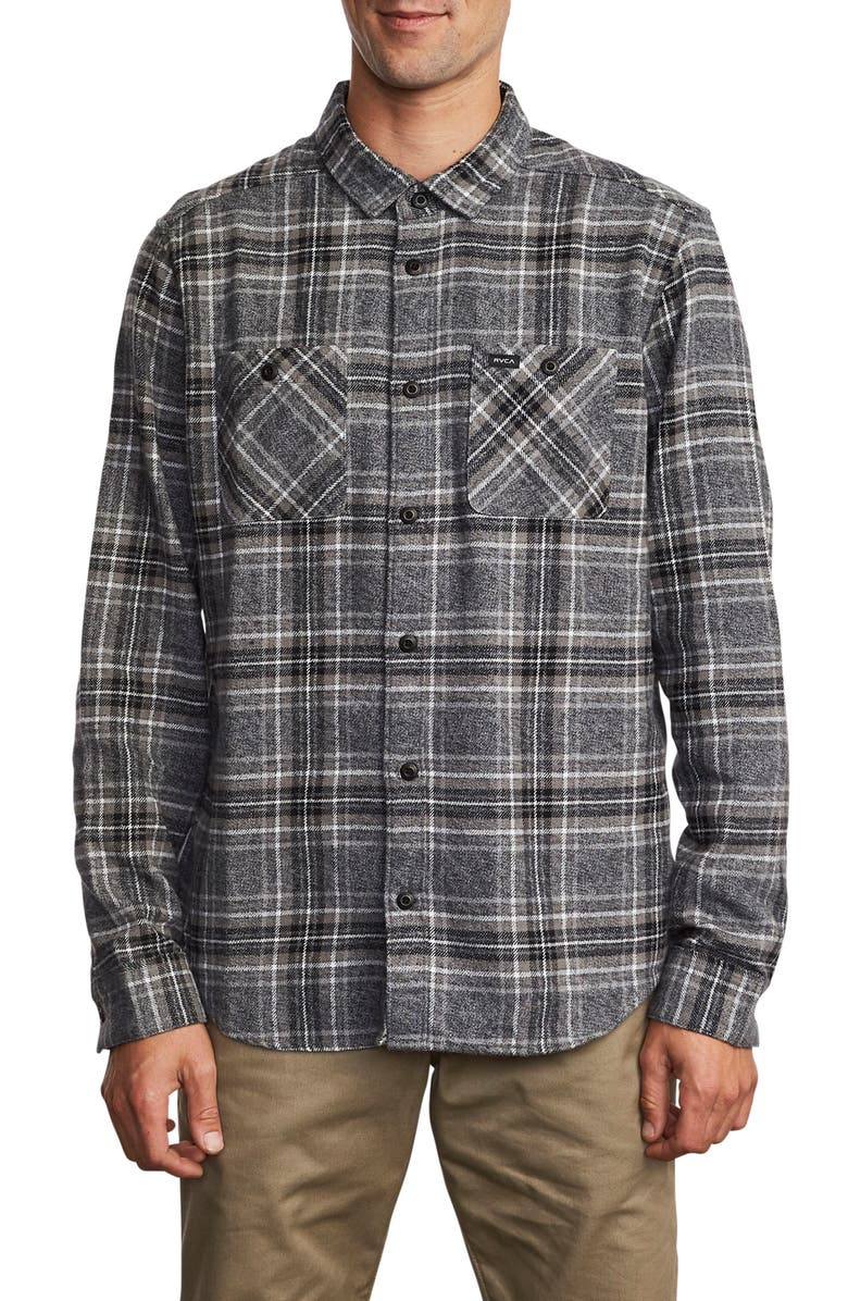 RVCA Mazzy Plaid Button-Up Flannel Shirt, Main, color, BLACK