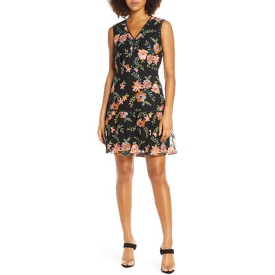 Sam Edelman Embroidered Mesh A-Line Dress, Black