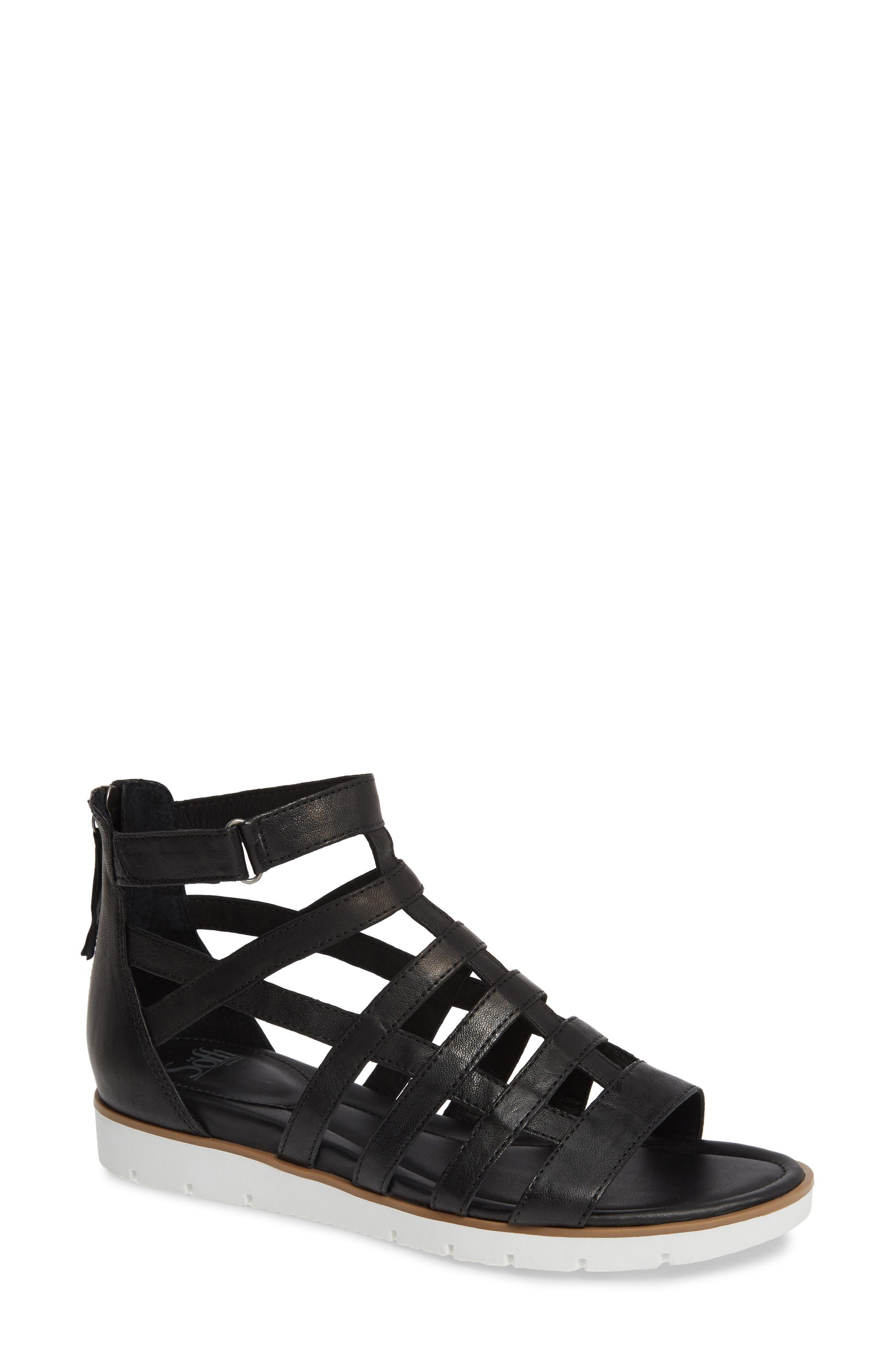 Mahari Gladiator Sandal, Main, color, BLACK LEATHER