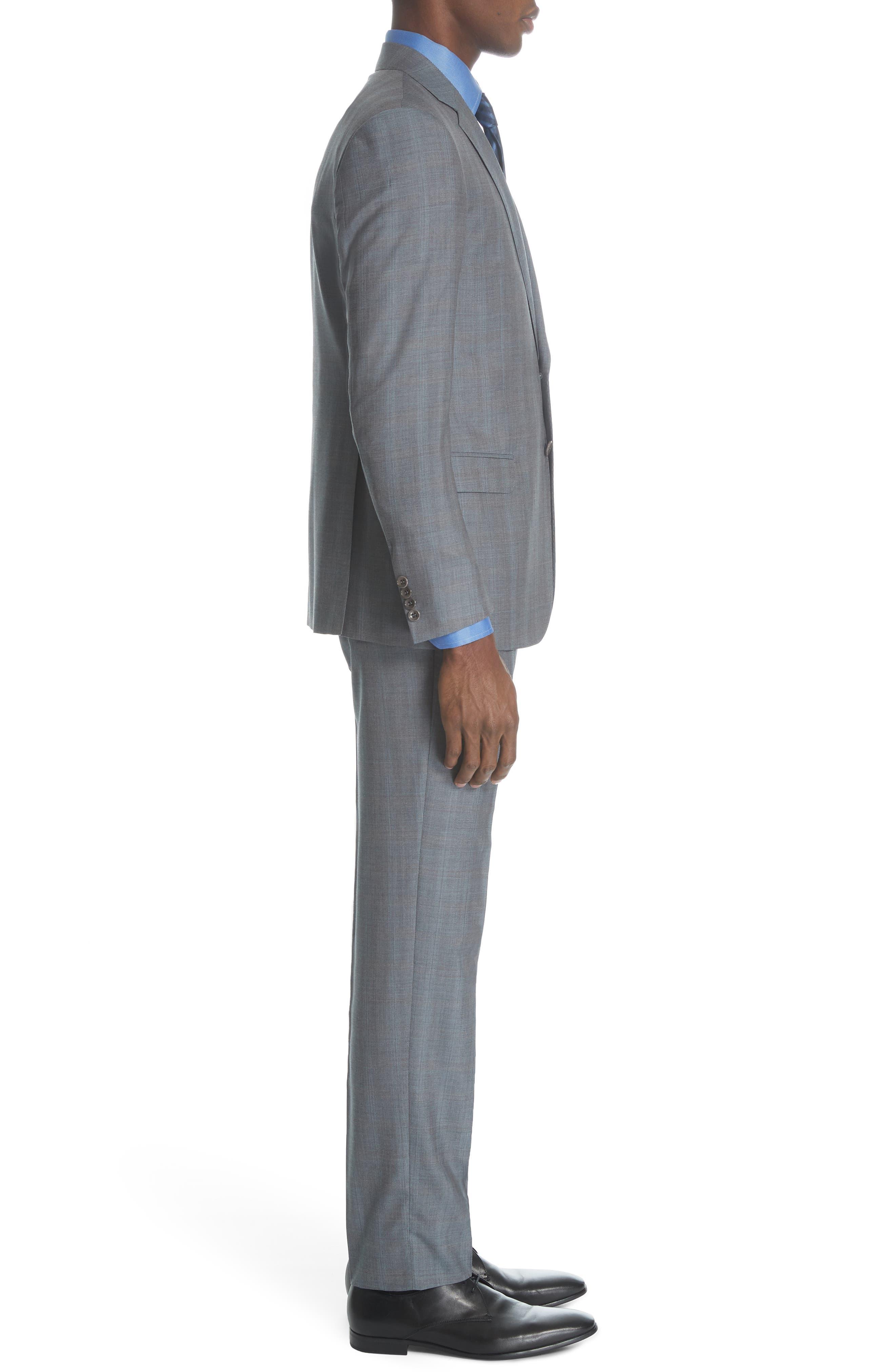,                             Classic Fit Plaid Wool & Silk Suit,                             Alternate thumbnail 3, color,                             GREY