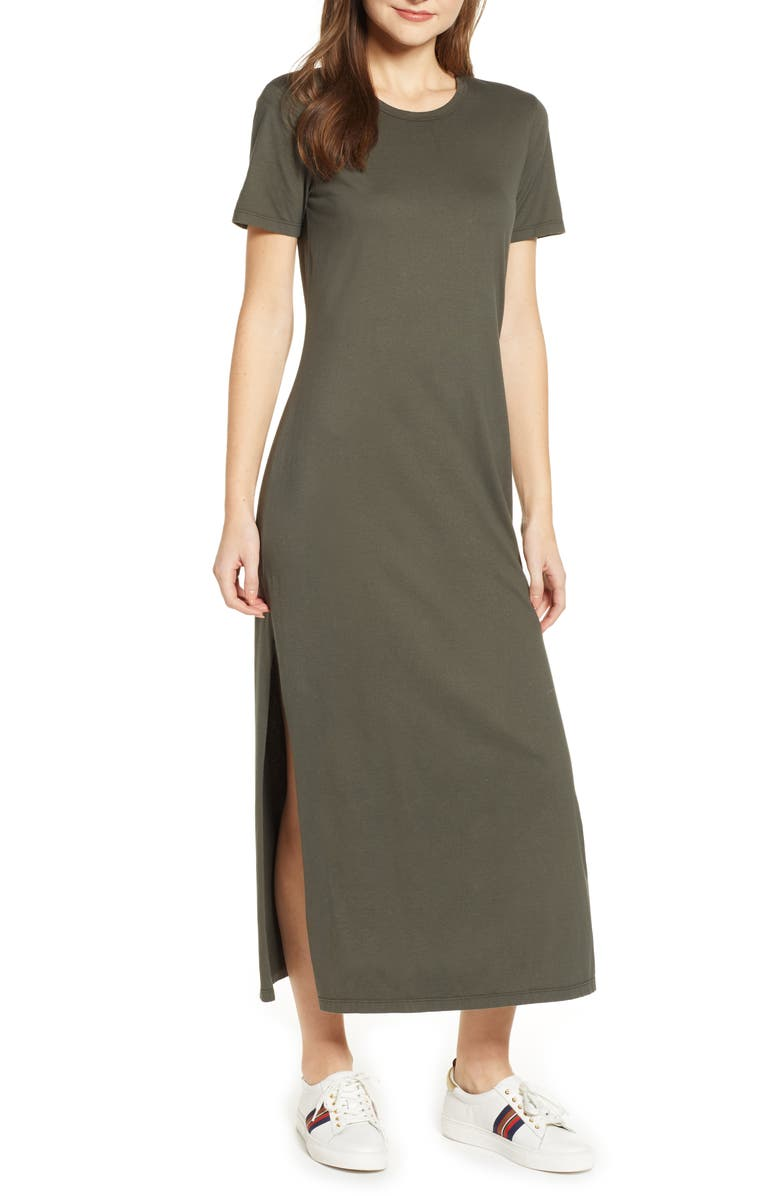 AG Alana Relaxed Maxi T-Shirt Dress, Main, color, ASH GREEN