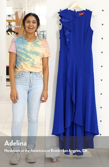 Ruffle Shoulder High/Low Gown, sales video thumbnail