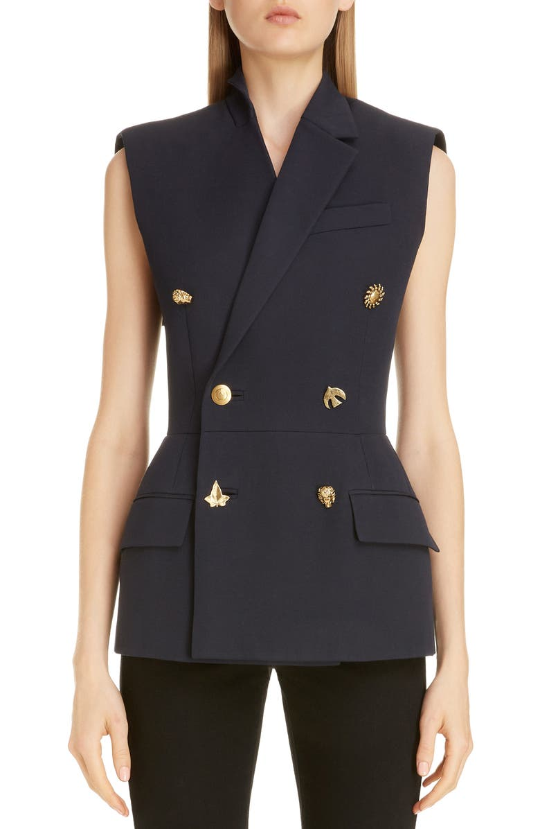 GIVENCHY Charm Button Sleeveless Double Breasted Wool Jacket, Main, color, NAVY