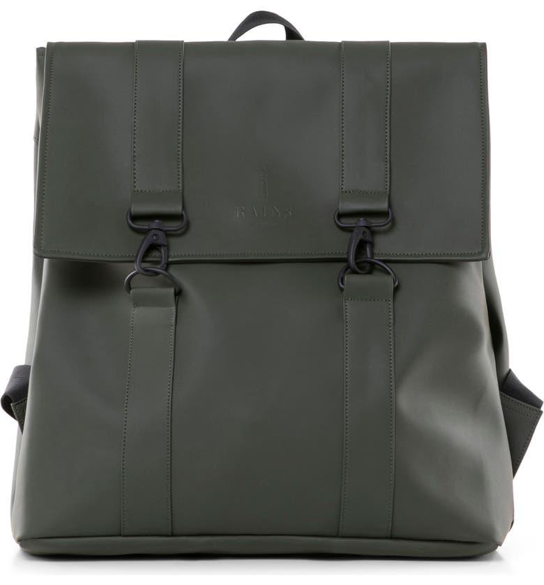 RAINS 'Msn' WaterproofBackpack, Main, color, GREEN