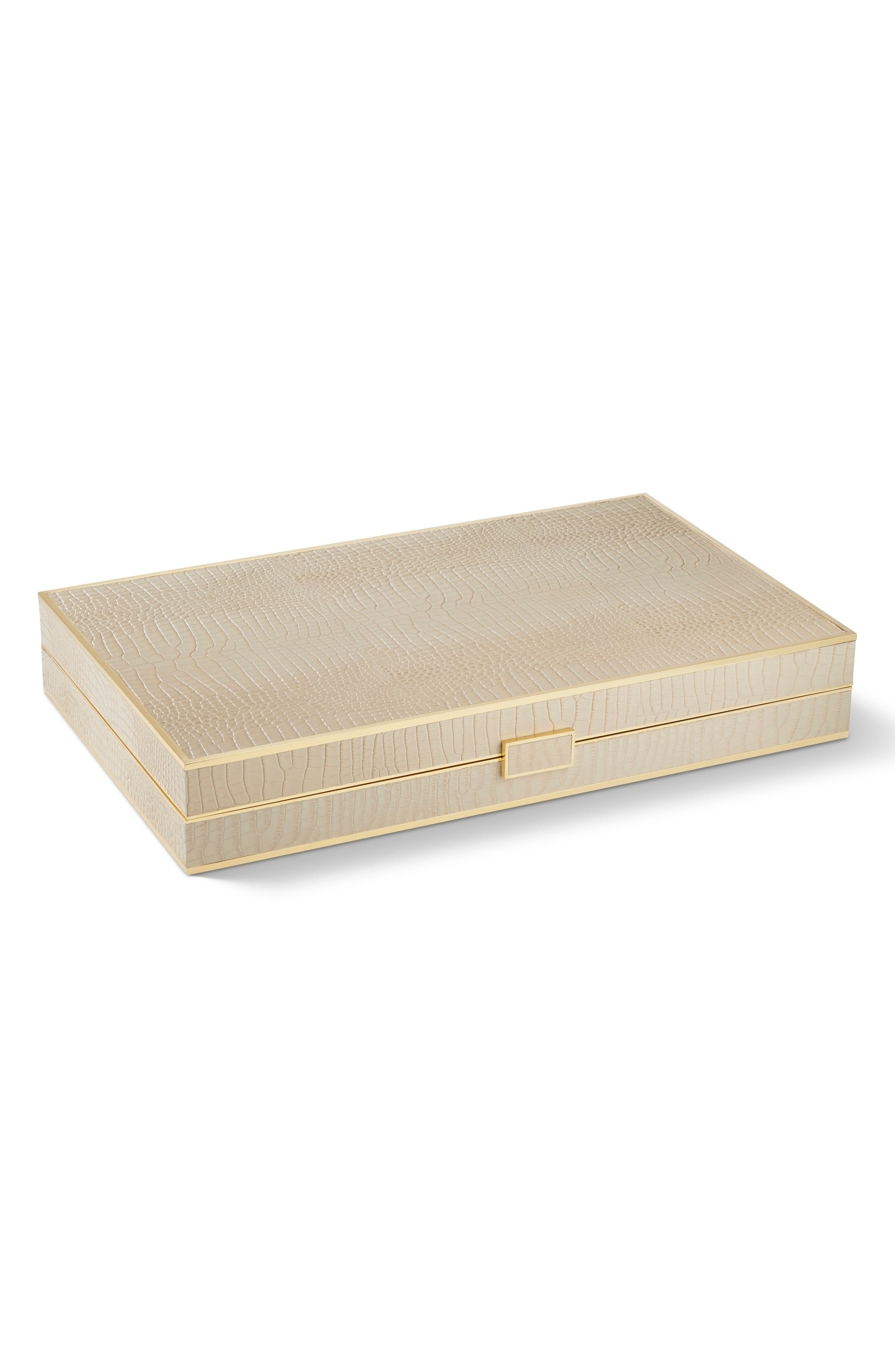 Croc Embossed Backgammon Set, Main, color, FAWN