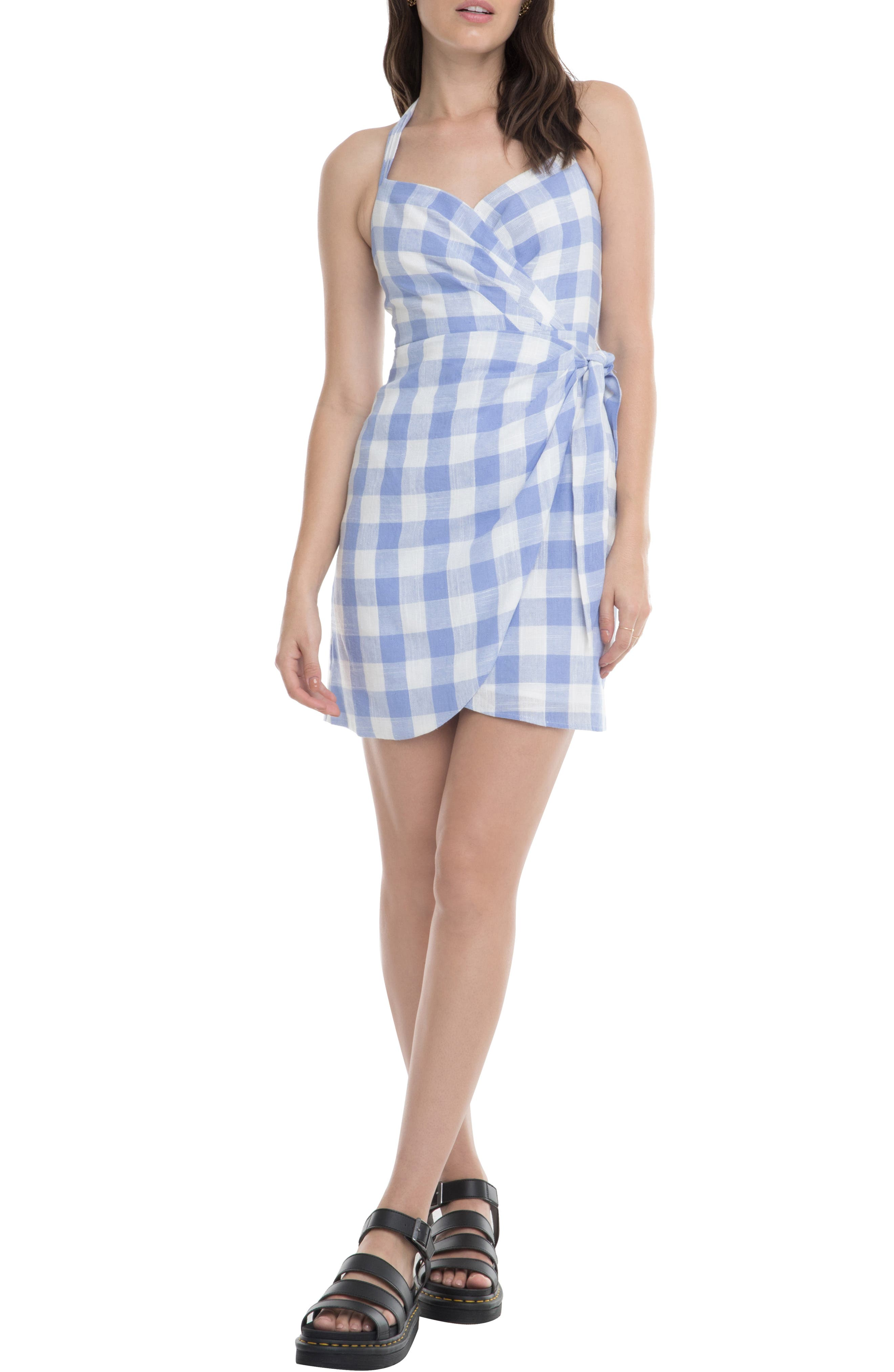 Astr The Label Edith Wrap Dress, Blue