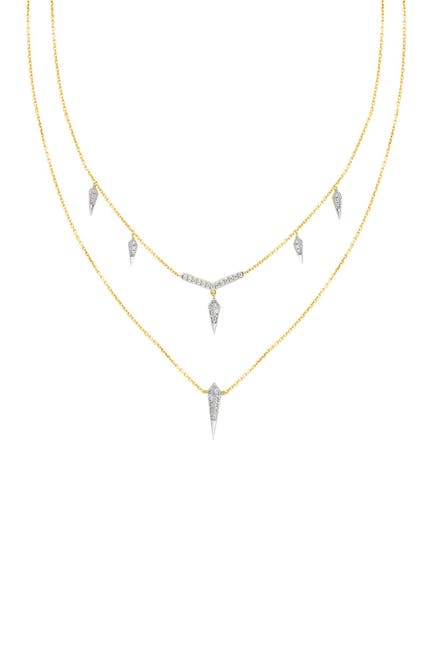 Image of Savvy Cie 18K Two-Tone Vermeil Layered Pave CZ Spike Pendant Necklace