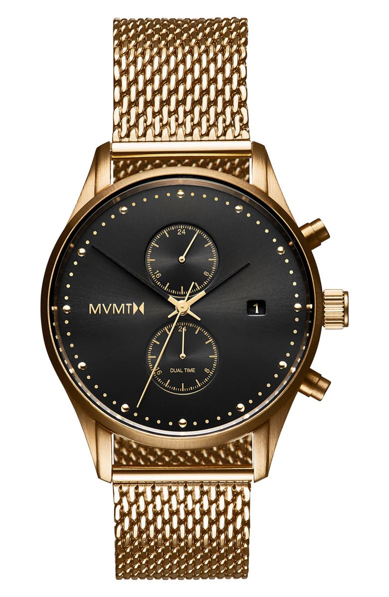 MVMT Voyager Chronograph Mesh Strap Watch, 42mm, Main, color, 710