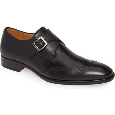 Mezlan Forest Single Monk Strap Wingtip Shoe- Black