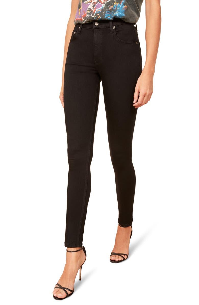 REFORMATION High & Skinny Jeans, Main, color, BLACK