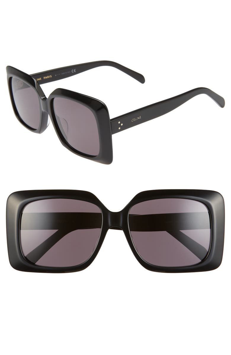 CELINE 60mm Square Sunglasses, Main, color, BLACK