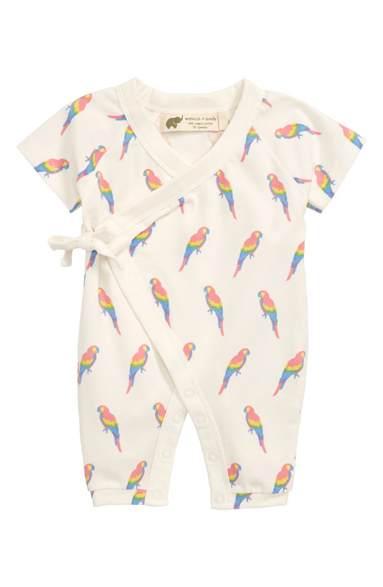 MONICA + ANDY Wrap Romper, Main, color, POLLY WANTS A CRACKER