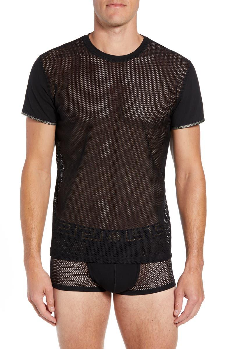 VERSACE Girocollo Mesh T-Shirt, Main, color, 001