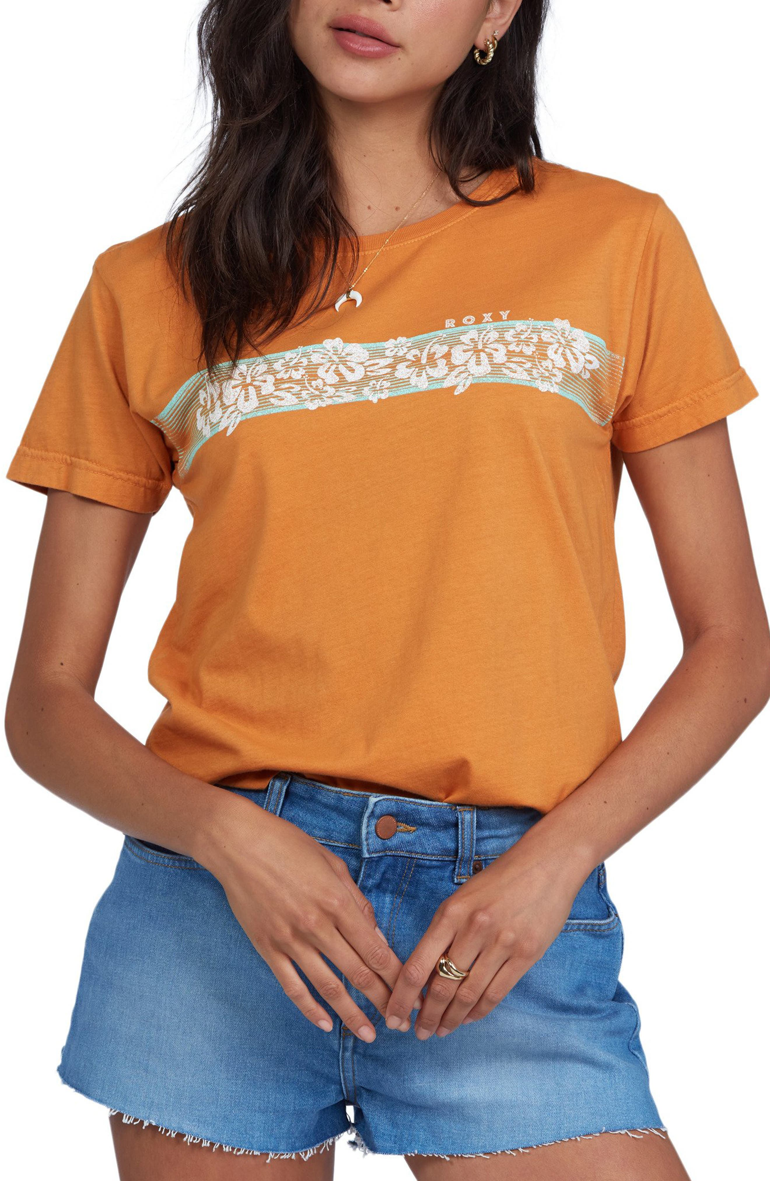 1980s Clothing, Fashion | 80s Style Clothes Womens Roxy Retro Hibiscus Stripe Graphic Tee Size Large - Orange $25.00 AT vintagedancer.com