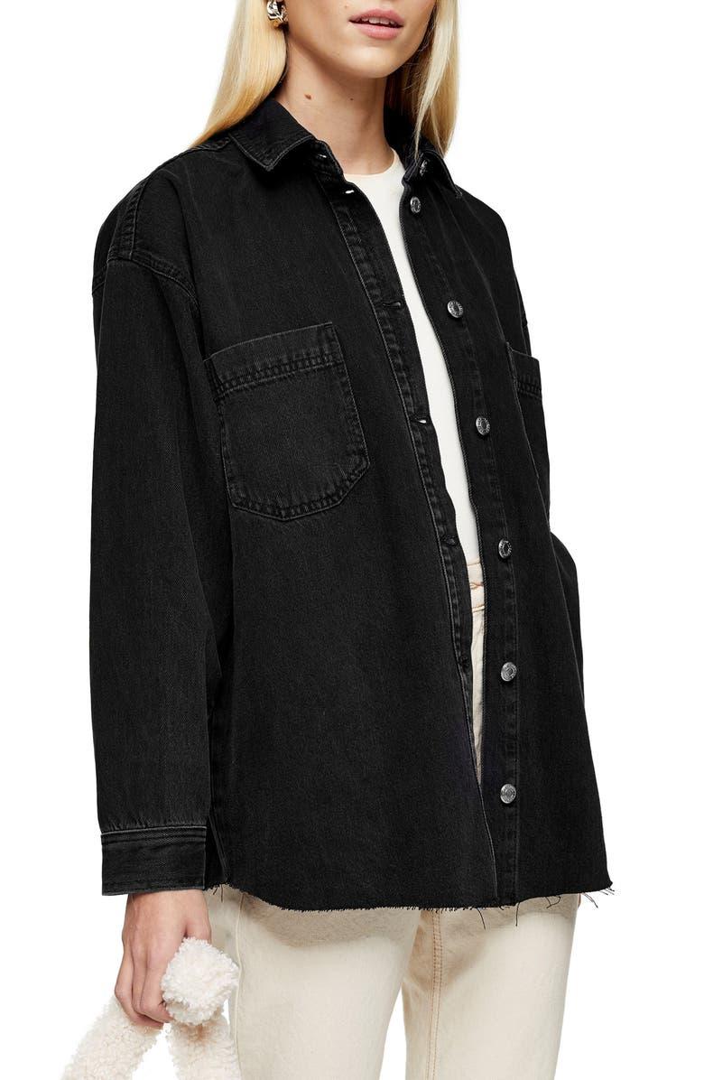 TOPSHOP Denim Shirt Jacket, Main, color, WASHED BLACK