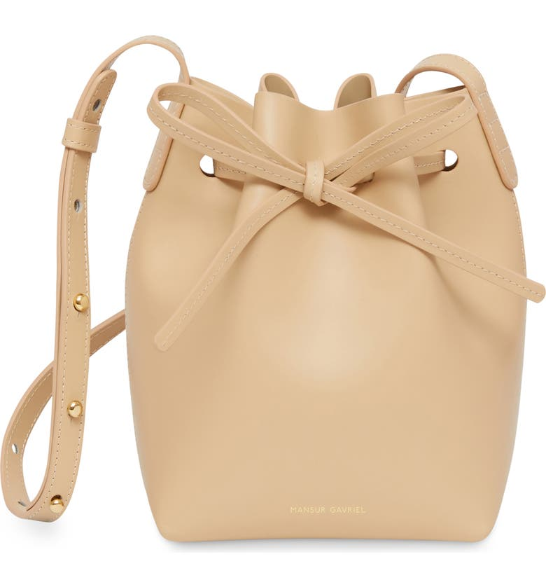 MANSUR GAVRIEL Mini Mini Leather Bucket Bag, Main, color, NATURAL