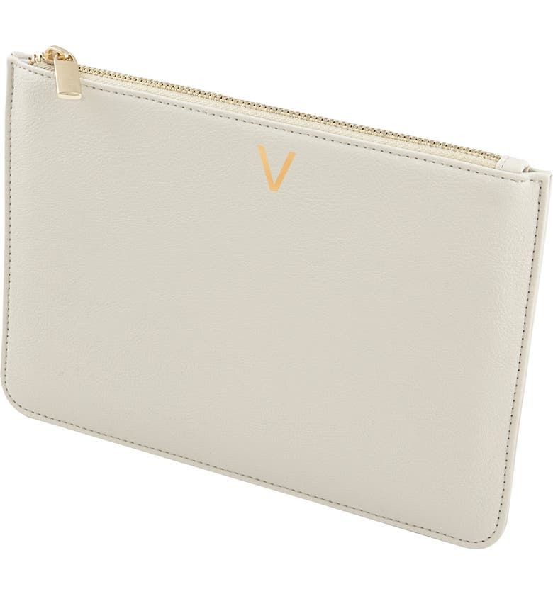 CATHY'S CONCEPTS Personalized Faux Leather Pouch, Main, color, PEBBLED GREY V