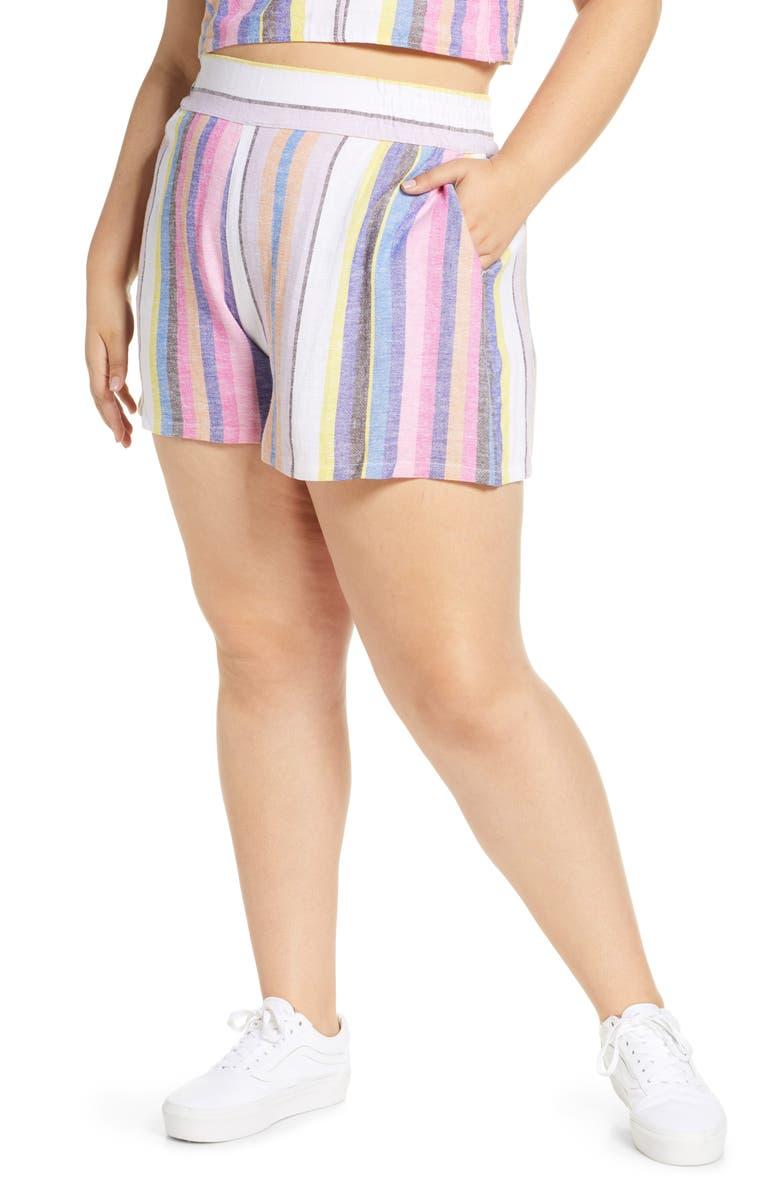 BP. Stripe Linen Blend Shorts, Main, color, PINK GERANIUM POPPY STRIPE