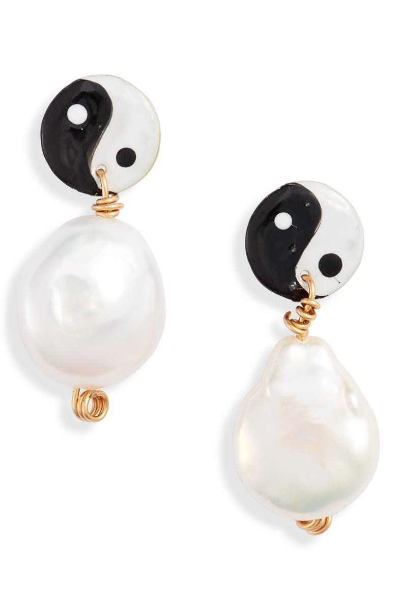 SUSAN ALEXANDRA Yin Yang Freshwater Pearl Earrings, Main, color, MULTI