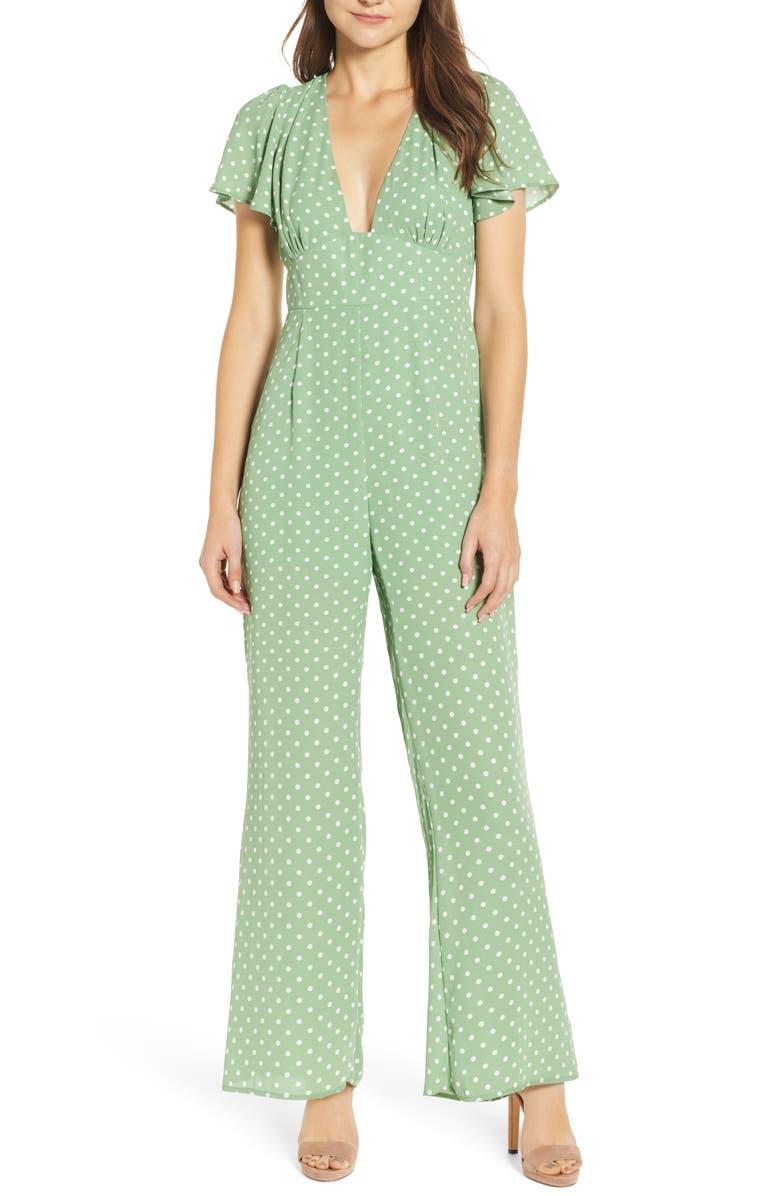 ROW A Polka Dot Jumpsuit, Main, color, 340