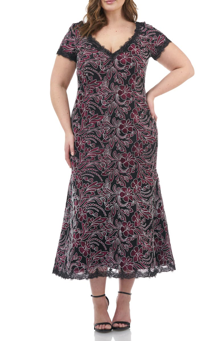 JS COLLECTIONS Embroidered Mesh Dress, Main, color, CABERNET BLACK
