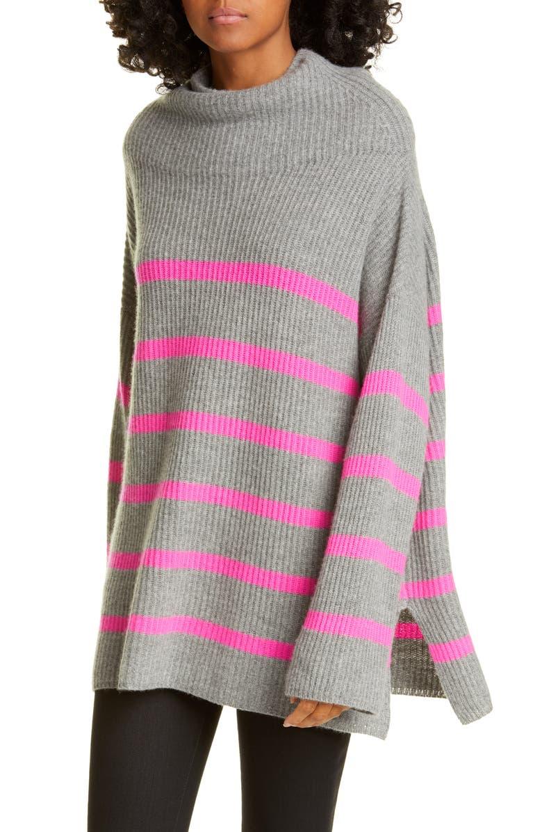 AUTUMN CASHMERE Breton Stripe Funnel Neck Cashmere Sweater, Main, color, CEMENT/ ATOMIC PINK
