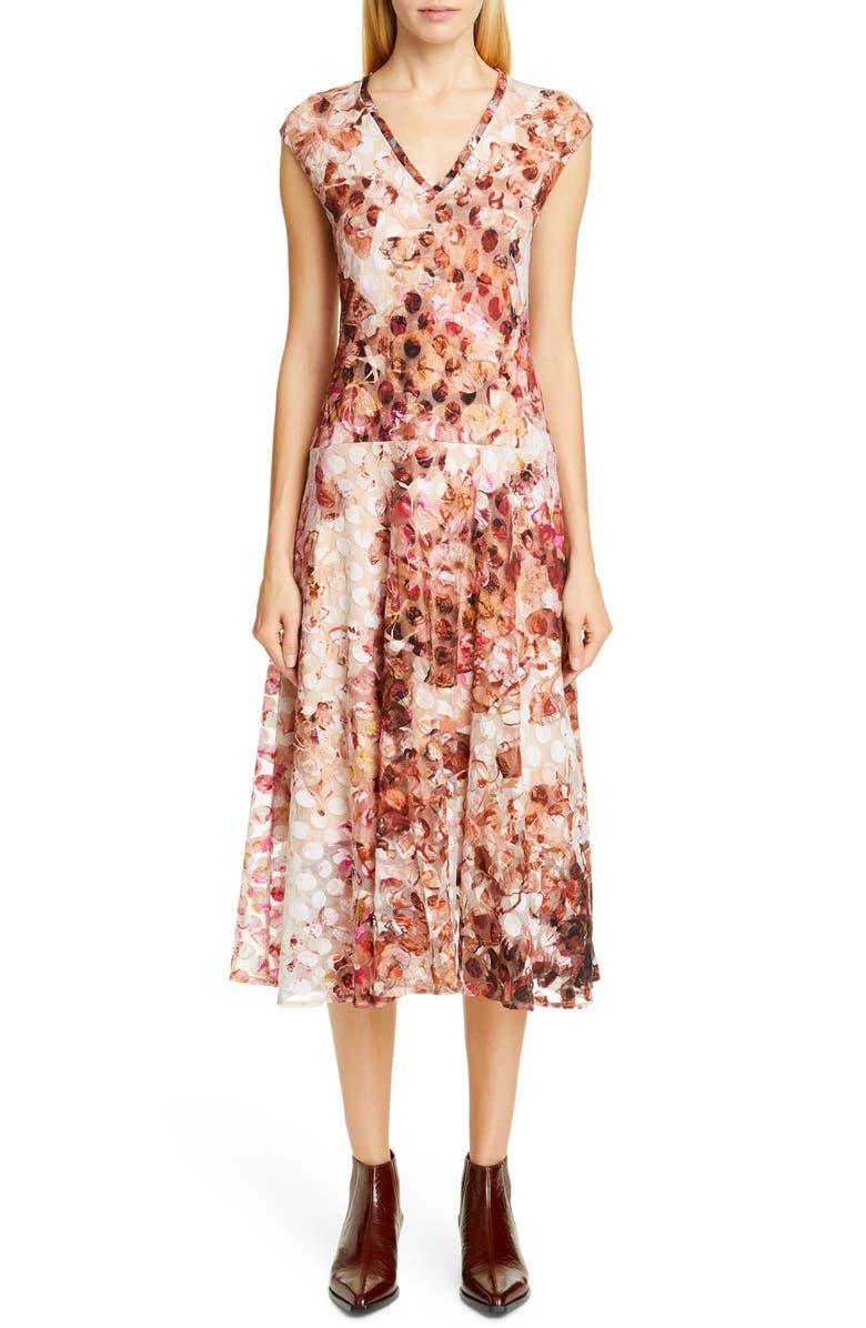 FUZZI Abstract Dot Midi Dress, Main, color, 689