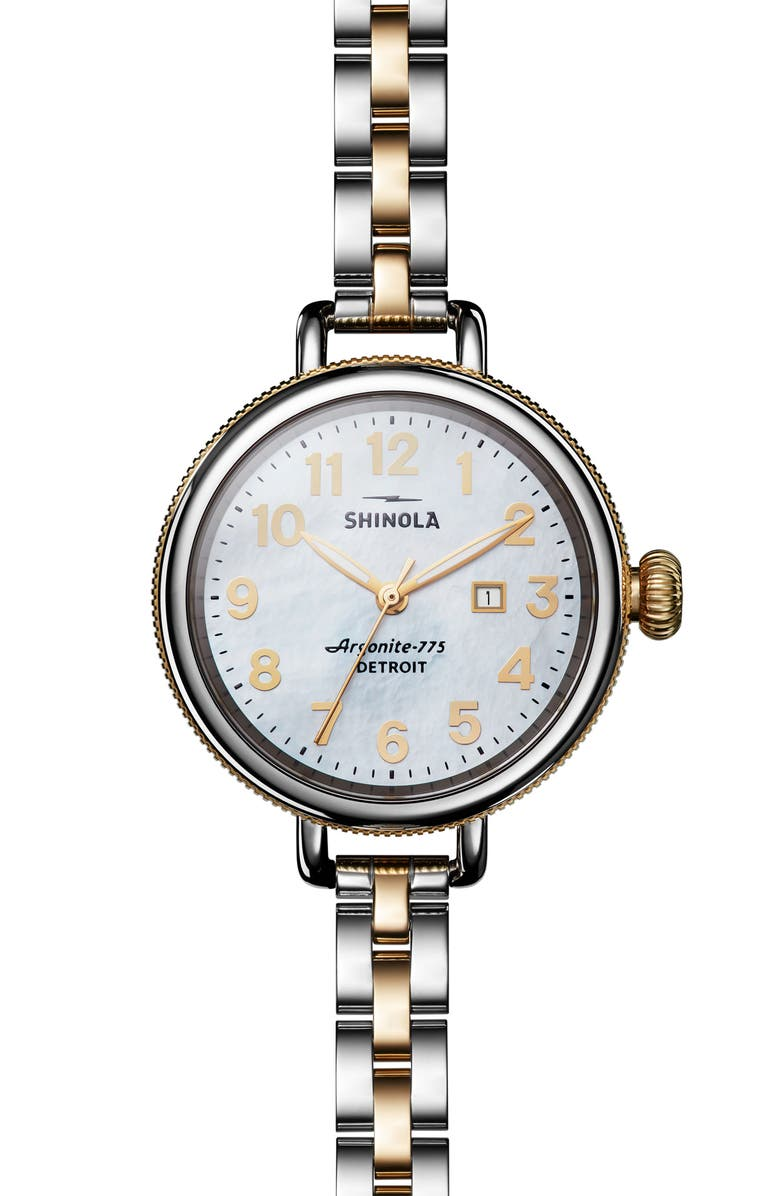 SHINOLA 'The Birdy' Bracelet Watch, 34mm, Main, color, SILVER/ BEDROCK MOP/ GOLD