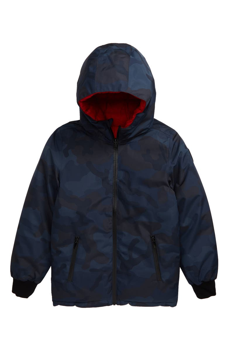 NOBIS Lil Li Waterproof Reversible Down Hooded Puffer Jacket, Main, color, NAVY CAMO/ RED